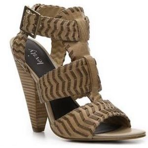 Levity Erica leather strappy cone heel tan brown 9